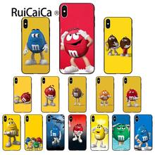 Ruicaica M & M's Chocolate Preto Macio Tampa Do Telefone Shell para o iphone X XS MAX 6 7 6 S 7 plus 8 8 Plus 5 5S XR(China)