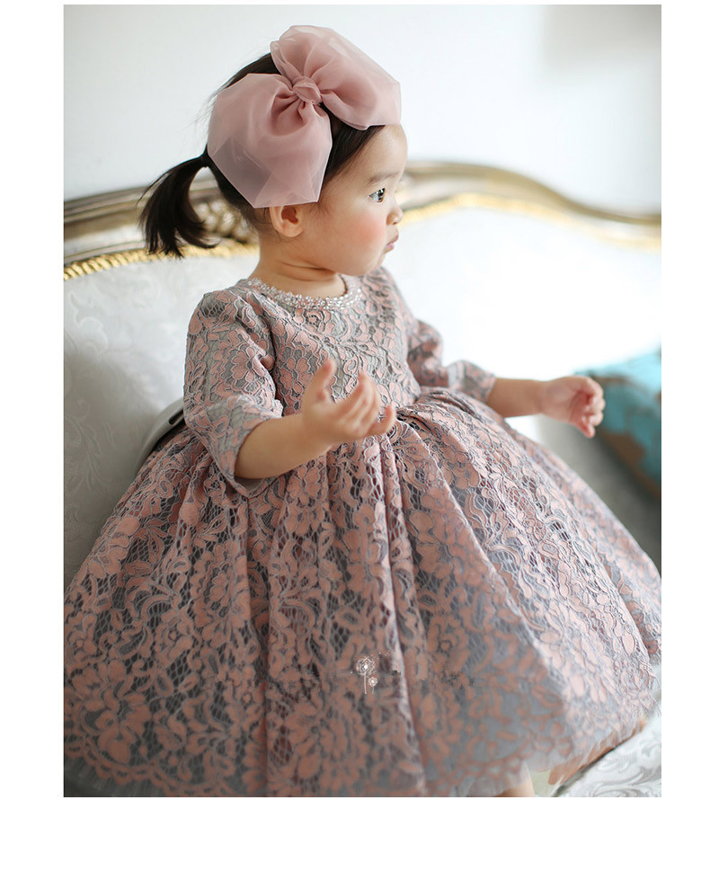 Vintage Beaded Baby Girl Dress Baptism Dresses for Girls 1st year birthday party wedding Christening baby infant clothing bebes