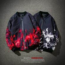 New 2017 Brand Male Cotton Baseball Loose Coat Jacket Men Casual Sportswear Bomber Hip-Hop Tops Plus Size M- 5XL Blazer Flame