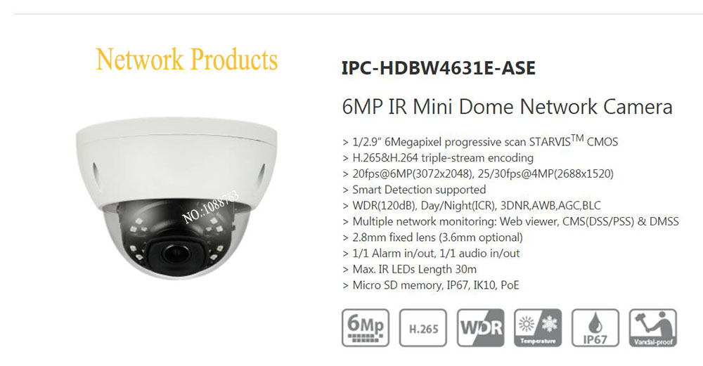 Free Shipping DAHUA CCTV IP Camera 6MP IR Mini Dome Network Camera IP67 IK10 With POE without Logo IPC-HDBW4631E-ASE free shipping dh security ip camera 2mp 1080p ir mini dome network camera ip67 ik10 with poe without logo ipc hdbw4231f as