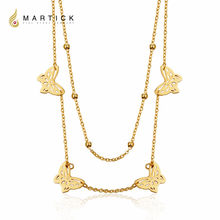 Martick Stainless Steel Butterfly Pendant Necklace Double Layer Beads Link Chain Necklace Fashion Jewelry For Women P120(China)