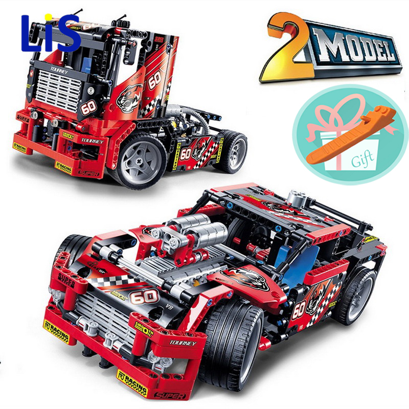 Lis Wholesale Price!!! Race Truck Racing Car 608pcs 2 In 1 Transformable Model Building Block Sets Smart Toys kids Gift