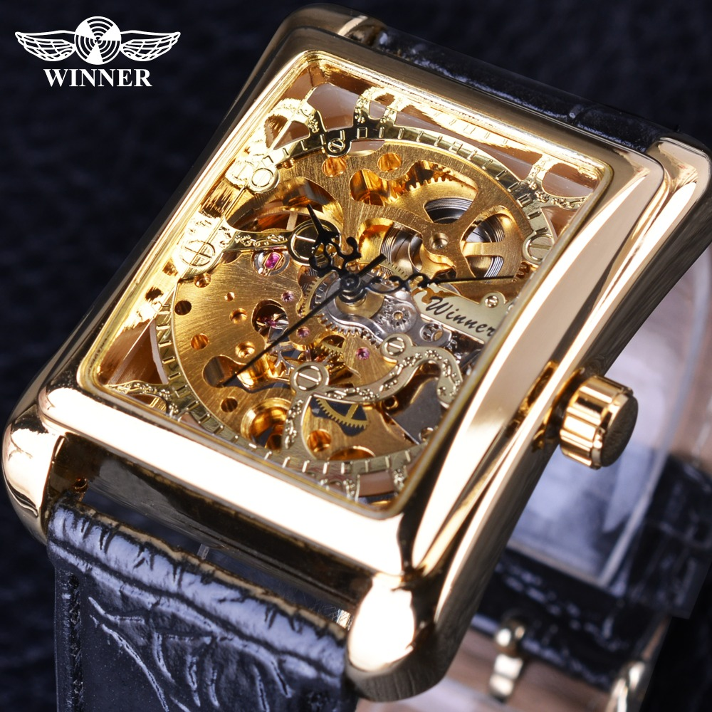 Winner 2017 Retro Casual Series Rectangle Dial Design Golden Pattern Hollow Skeleton Watch Men Watch Top Brand Luxury Mechanical holuns original luxury automatic mechanical watch golden big dial sapphire mirror hollow watch men casual retro leather watches