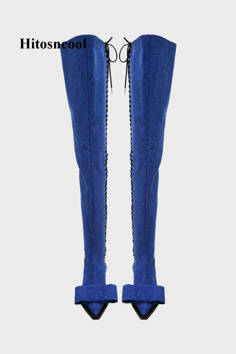 d52fbc7e Puntiagudo Zapatos De La Botas azul Azul Pantalones Del Negro Vaqueros  Encaje Negro Rodilla Nuevo Encima Por Mujer Extraño Lazo Dedo Tacones ...