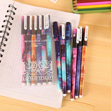 6 Pcs Creative Star Night Color Gel Ink Pen Hot Kawaii Pens  lapices office & school supplies stationery for