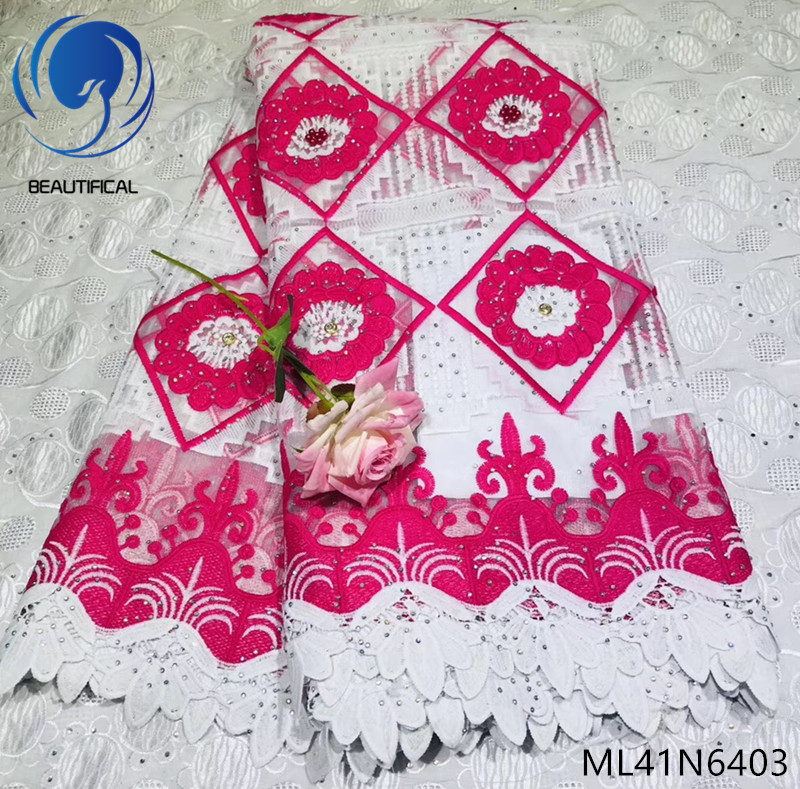 Beautifical nigerian lace fabrics Fashion style embroidery tulle lace beads fabric lace stones fabric for dress 5yards ML41N64Beautifical nigerian lace fabrics Fashion style embroidery tulle lace beads fabric lace stones fabric for dress 5yards ML41N64
