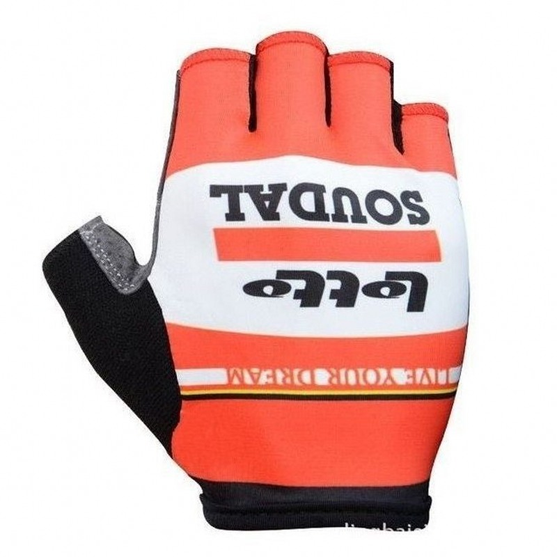 team lotto soudal red Cycling gloves GEL shock absorption pro high quality summer half finger Bike gloves Size m-XL outdoor cycling half finger protective fiber gloves yellow black grey pair xl size