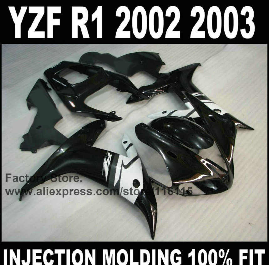 Custom free 100% injection mold fairings kits for YAMAHA YZF R1 2002 2003 YZFR1 02 03 YZF-R1 black white ABS fairing body parts free shipping blue white black aftermarket oem fitment kits for yamaha r1 2002