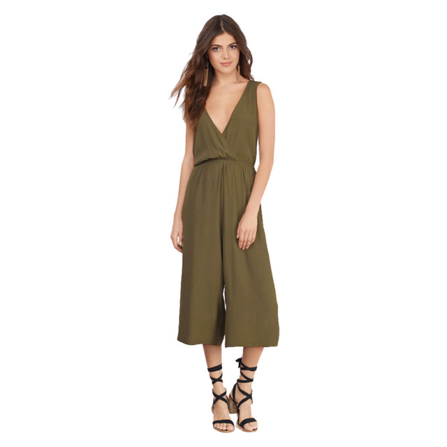 cab4f7ae3445 2016 New Plus Size Summer Sexy Capris Jumpsuit Deep V neck Cross Back Classy  Backless Loose Wide Leg Rompers Womens Jumpsuit