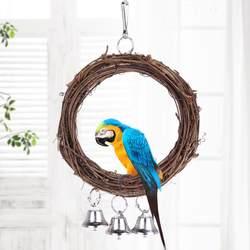 Птица Попугай Подвесные качели кольца шары с колокола, игрушка для птиц стоя любимая игрушка поставки горячей