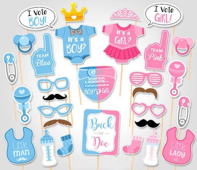 Baby Shower 30 Pcs Set Photo Booth Props Boy Girl 1st Birthday Fun