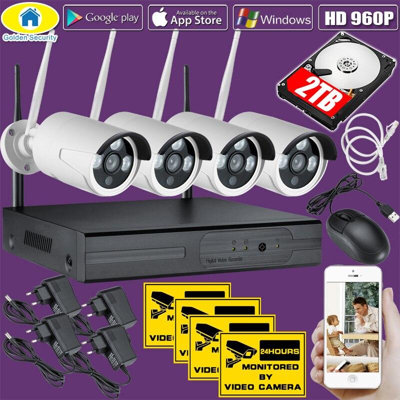 Golden bezpieczeństwa 4CH bezprzewodowy 1080P zestaw monitoringu NVR 960P HD wodoodporna bezpieczeństwa WiFi System kamer IP systemu nadzoru CCTV 2TB w Systemy nadzoru od Bezpieczeństwo i ochrona na  Grupa 1