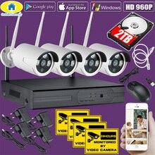 Oro di Sicurezza 4CH Senza Fili 1080P NVR Kit 960P HD Impermeabile videocamera di Sicurezza IP di WiFi Sistema di TELECAMERE CCTV Sistema di Sorveglianza 2TB