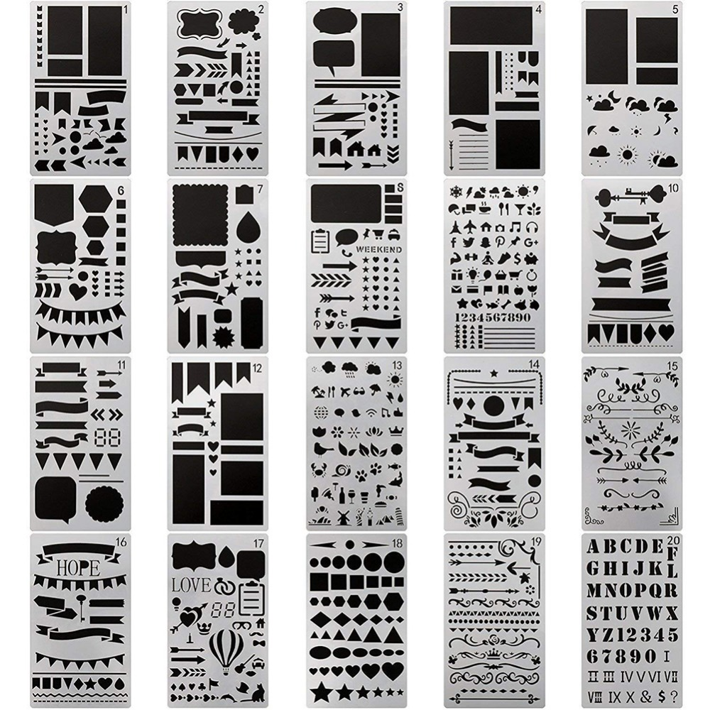 Start your digital scrapbook journal! Bullet Journal Stencil Set Cutting Dies Planner Diy Drawing Template For Diary Notebook Scrapbook Paper Decor Craft Projects Buy At The Price Of 2 55 In Aliexpress Com Imall Com