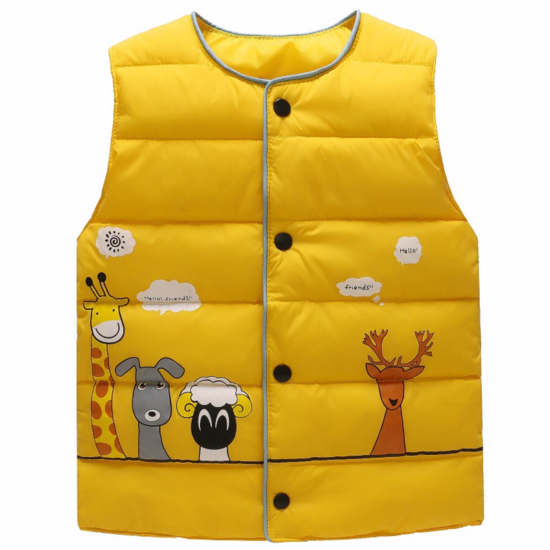 Winter Autumn Waistcoat Girls Boys Vest Baby Coats Children Clothes Down Jacket Child Baby Warm For Kids Vests Giraffe Cartoon цена 2017