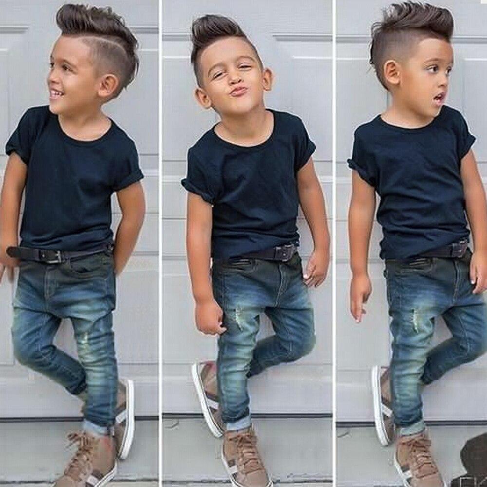 Gentleman Retail Jonge Kinderen Casual Zomer Jongens Kleding Sets Shirt + Denim Jeans 2 Stks Jongens Past Kind Pak Gratis Verzending