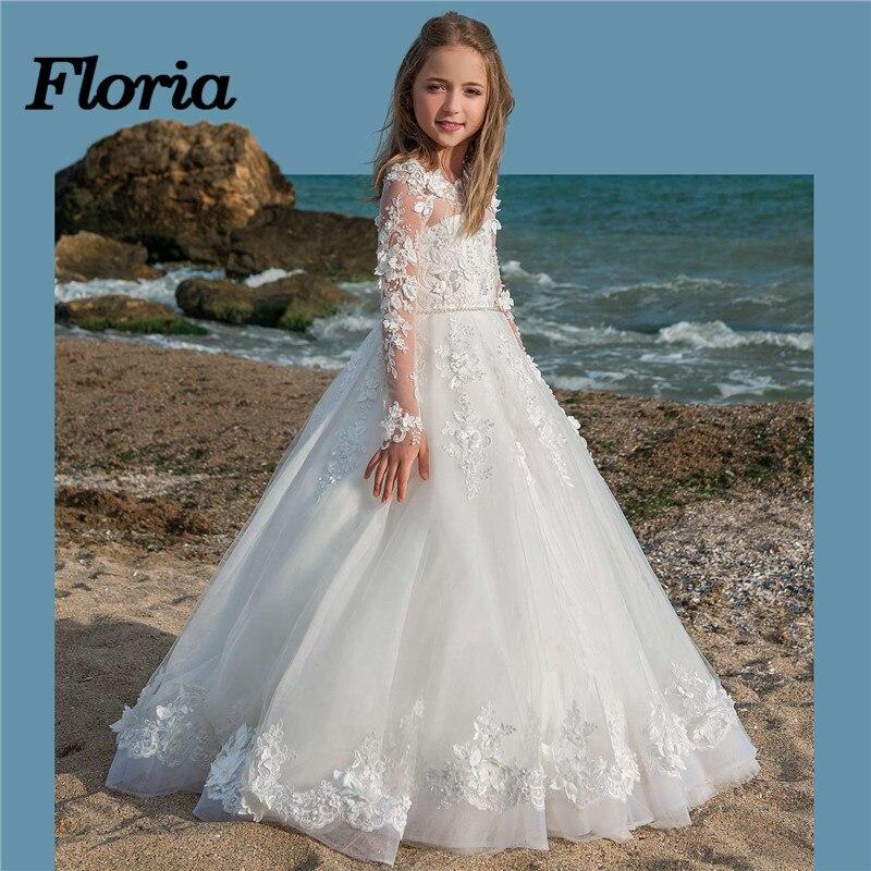2018 Vestidos daminha Flower Girl Dresses For Weddings Lace Ball ...