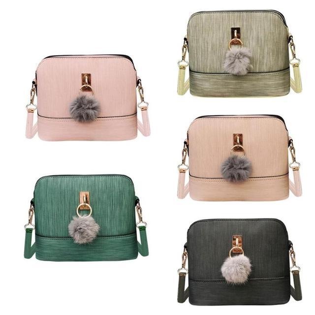 fd3b8a65d9c7 Fashion Elegant Soft PU Leather Mini Female Women Square Plush Ball Crossbody  Bag Vintage Handbag Satchel