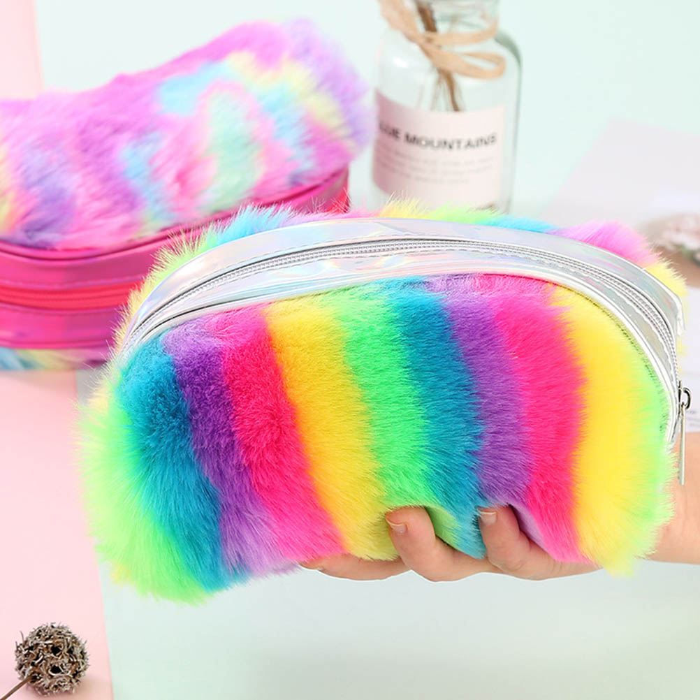 Rainbow Plush Pencil Case Cute Large Capacity Pencil Box School Supplies Stationery Gift Women Travel Makeup Hand Bags