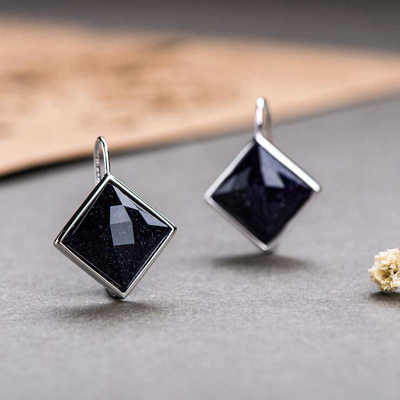 все цены на Ruifan Square Dark Blue Sandstone Stud Earrings for Women Real 925 Sterling Silver Earrings Stone Minimalism Fine Jewelry YEA105 онлайн
