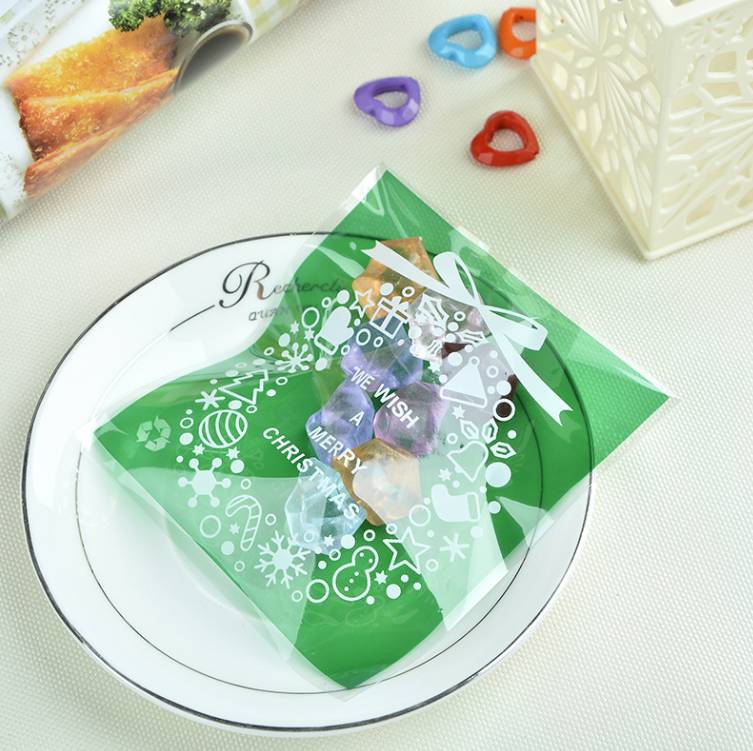 Us 8 99 10x11 3cm Cookie Packaging Christmas Wreath Self Adhesive Plastic Bags For Biscuits Snack Baking Package 100pcs Lot In Other Cake Tools From