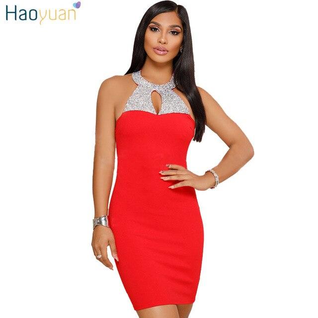 HAOYUAN Rhinestone Sexy Dress Off Shoulder Backless Black Red Bodycon Summer Dress Night Club Robe Women Party Dresses Vestidos