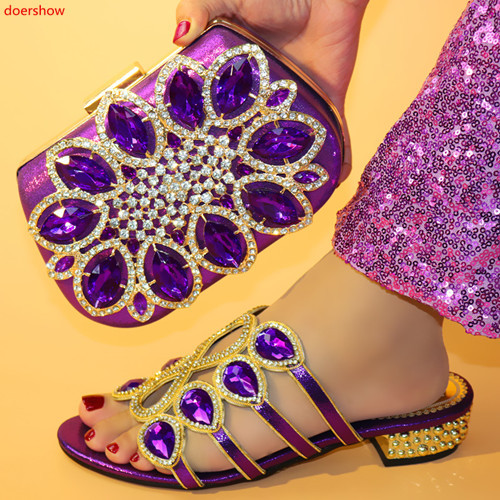 doershow new come Matching Women Shoe and Bag Set Decorated purple Nigerian Shoes and Bag Set Italy Shoes and Bag set HFF1-14