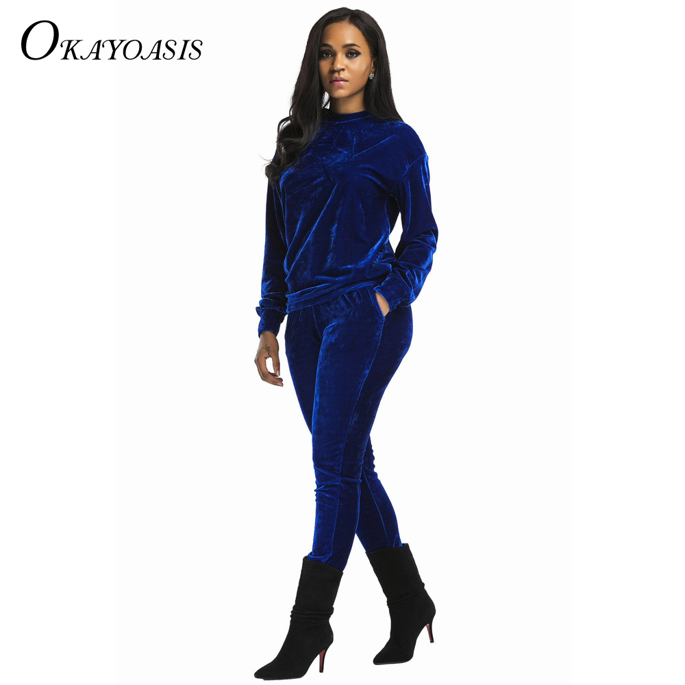 7fabb5f0e59 OKAYOASIS Velvet Jumpsuit Rompers 2017 Spring Bodysuit Solid Velvet Long  Sleeve O Neck Sexy Rompers Womens Two Piece Jumpsuits