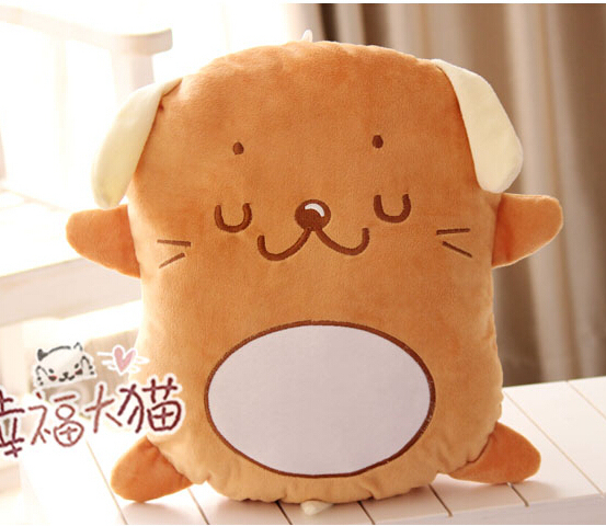 Candice guo! Hot sale super cute plush toy brown biscuit dog cushion creative stuffed toy good for gift 1pc