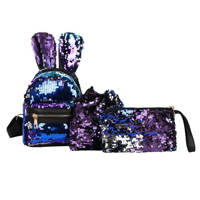 1/3Pcs Set Sequins PU Backpack For Girls Rabbit Ear Kids Mini Glitter  Backpacks Evening Clutch Bags Shiny Composite Shoulder Bag