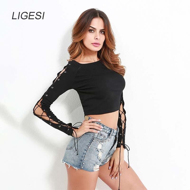 סווטשירט קצר סווטשירט שרוול ארוך שחור - בגדי נשים