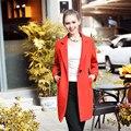 Ouyalin L-5XL Гной Размер Шерстяное Пальто Notch Воротник Одной Кнопки Мода Осень Зима Шерстяные Пиджаки Красный Воротник