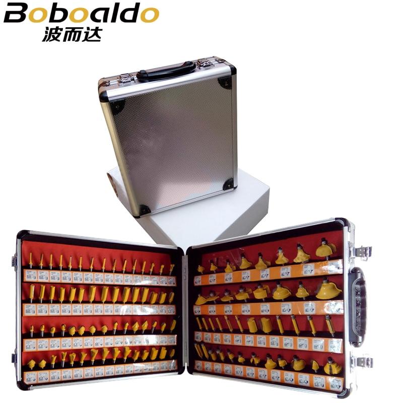 100 pcs 1/4 Ferramentas De Corte De Madeira Haste 6.35mm Máquina de Gravura Bits Carving Cortador de Fresa de topo De Moagem De Madeira