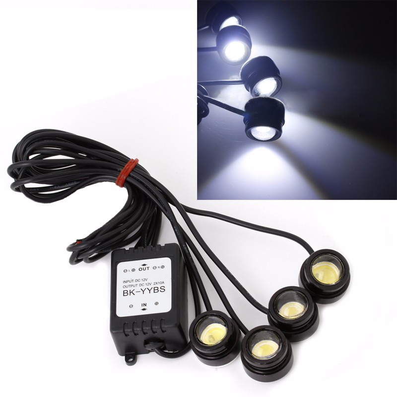 4 In 1 12V Wireless Hawkeye LED Lights Car Emergency Strobe DRL Remote Control C45 4in1 daytime running light 12v 12w led car emergency strobe lights drl wireless remote control kit car accessories universal