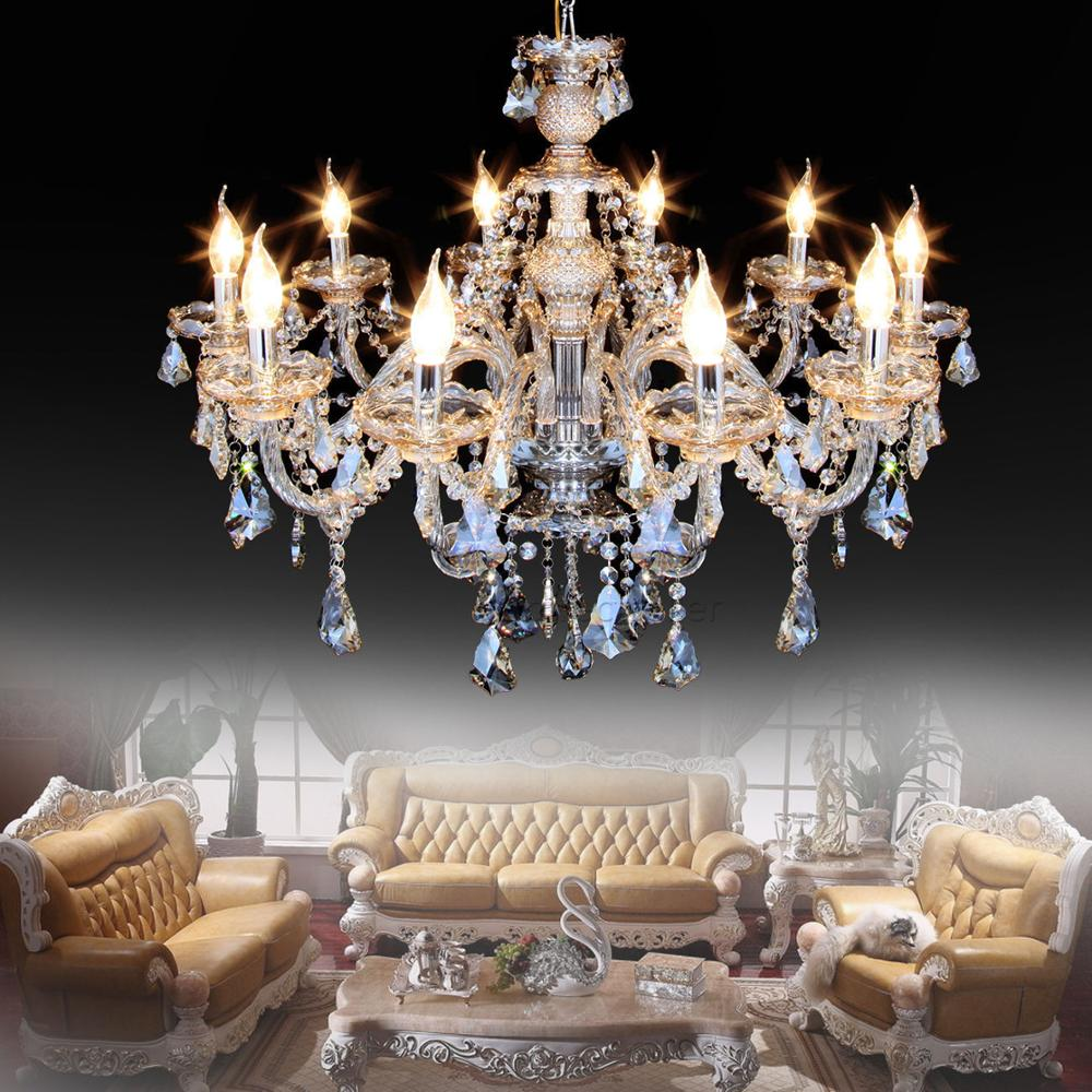 Elegant Crystal Chandelier Light 10 Arms K9 Crystal Ceiling Pendant Lamp