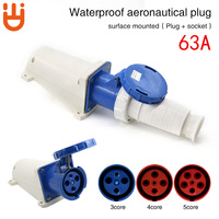 Industrial plug socket connector 3 core 4 core 5 hole 63A surface mounted aviation plug docking waterproof