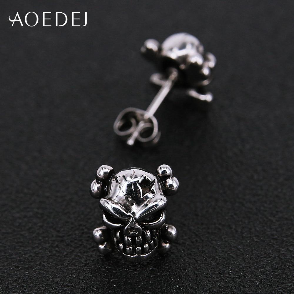 AOEDEJ Bone Skull Earrings For Men Stainless Steel Punk Earrings Stud Spike Men Hollow Out Earing Black Ear Studs Boucle Oreille
