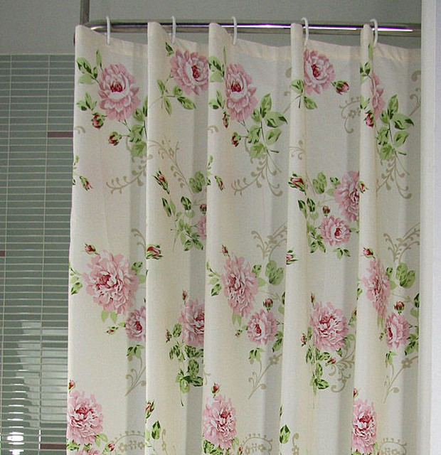 Tayohya Rose Shower Curtain Waterproof Pink Blue