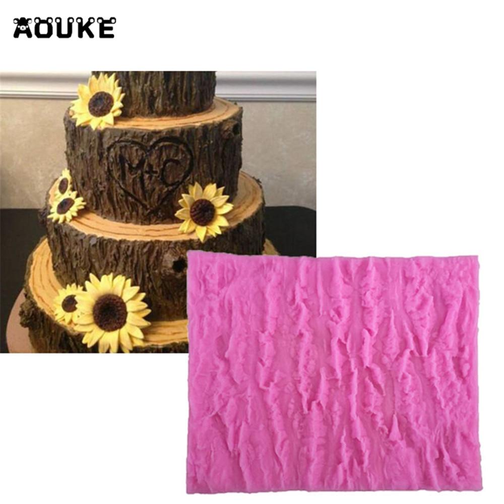 Aouke Tree Bark Shape Mold Modeling Cake Decoration Fondant Chocolate Pudding Cookie Soap Silicone Molds Candy Baking Tools M023