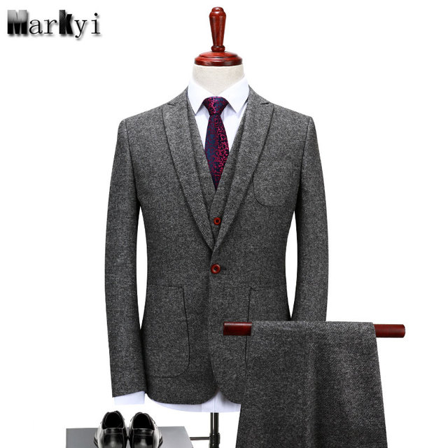 MarKyi winter wool men wedding suits 2017 fashion single button mens dress suits slim fit tuxedo plus size 4xl 3 pieces