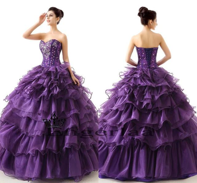 Puffy Sweet Long Sweet 16 Dresses Quinceanera Purple Color Sparkly ...