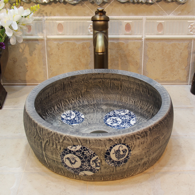 Jingdezhen Bathroom Ceramic Sink Wash Basin Counter Top Wash Basin Bathroom  Sinks Brown Bathroom Sink( Part 3