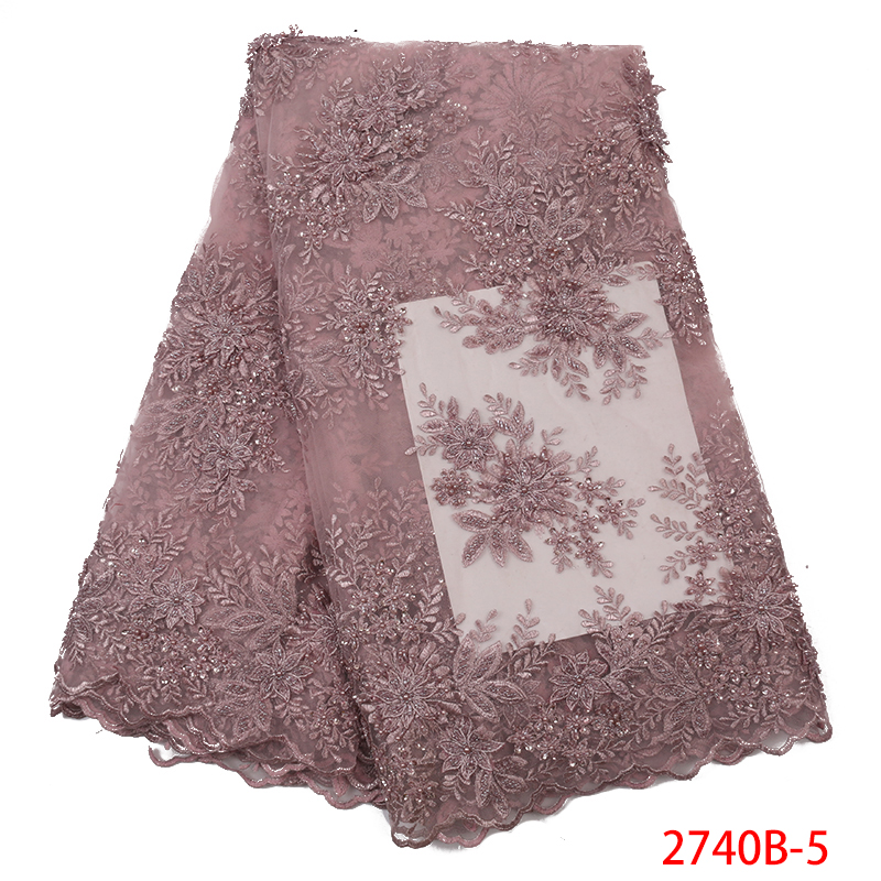 Hot Sale Nigerian Party New Red Wholesale Tulle Lace Fabric In Stock Bead Embroidery Fabric QF2740B 5