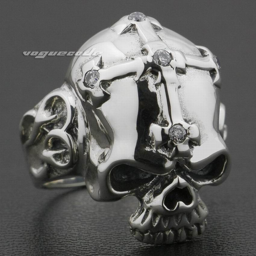 925 Sterling Silver Skull Corss CZ Stone Mens Ring 9G013 US Size 7 to 13 r006 7 skull shaped stylish titanium steel ring silver us size 6