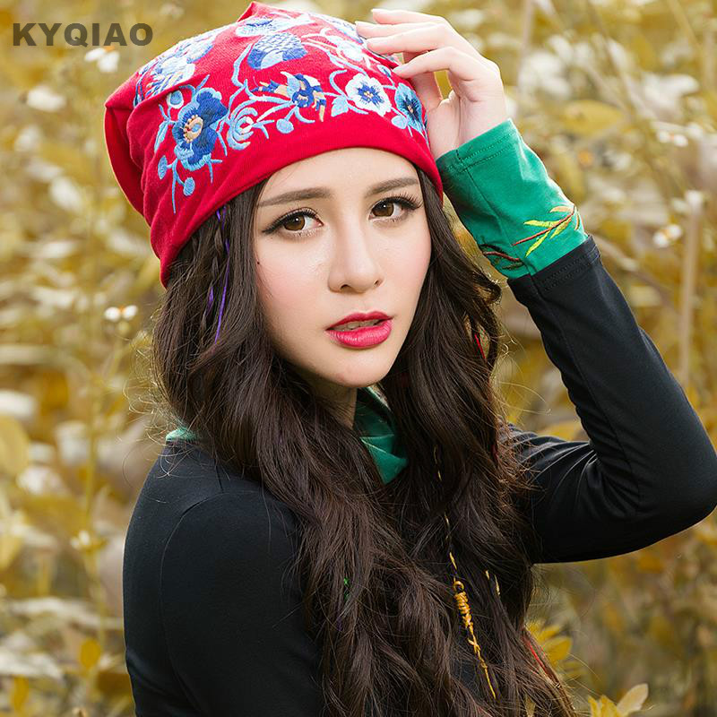 KYQIAO Ethnic skullies beanies for women autumn winter Mexico style original designer red blue yellow embroidery hat beanies skullies