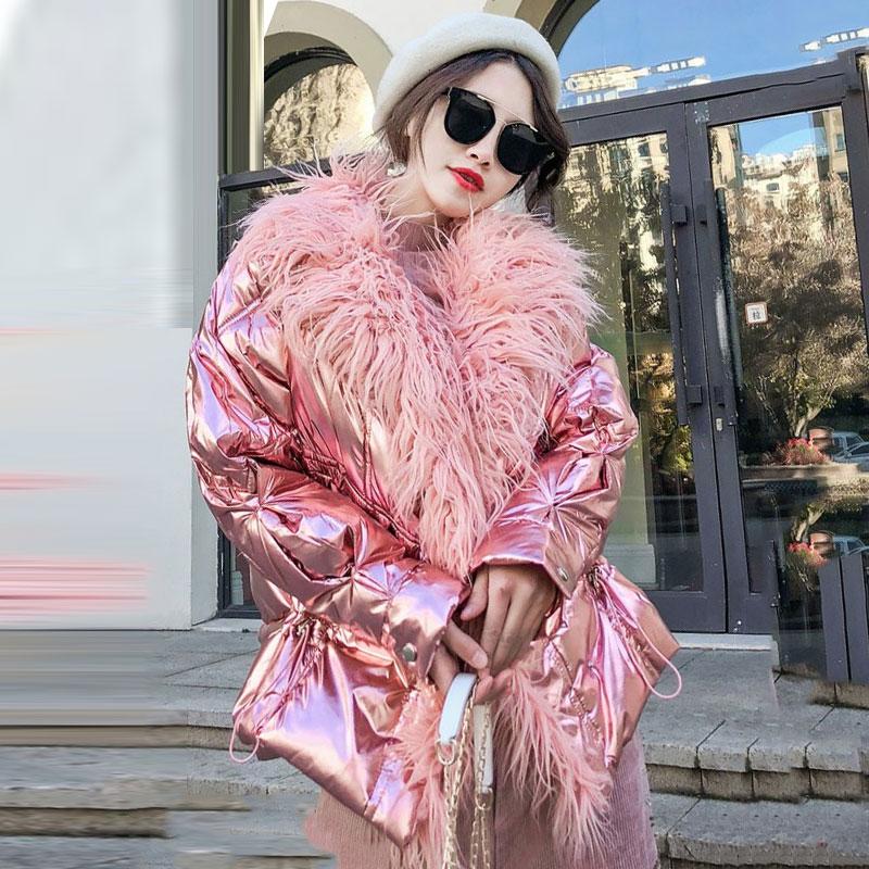 2019 الخريف الشتاء سترة الكورية الفضة لامعة فو منغوليا الأغنام الفراء القطن النساء معطف الأزياء فضفاض دافئ سترة معطف بركة (سترة من الفراء بقبعة للقطب الشمالي) 088-في سترات فرائية مقلنسة من ملابس نسائية على  مجموعة 1