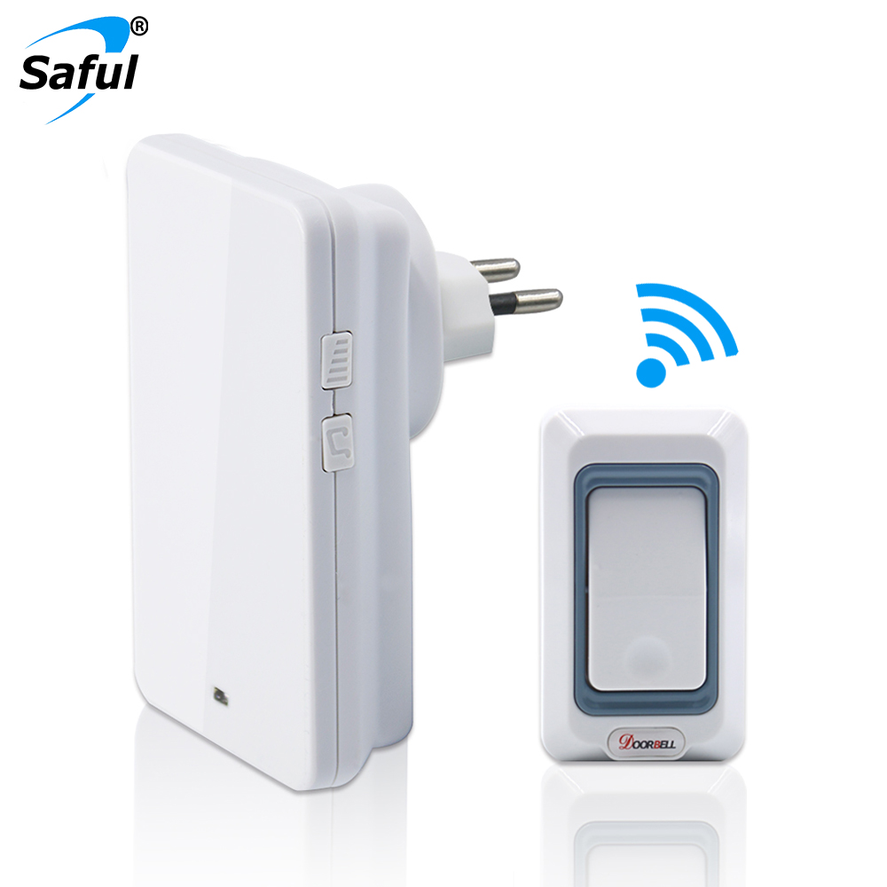 Saful Drahtlose Türklingel 25-110dB Einstellbar Push Button EU/AU/US/UK Stecker Wasserdichte Batterie Elektrische Smart Home chime Türklingel