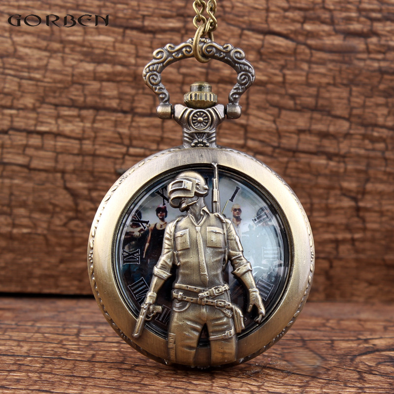 Vintage Hollow Handsome Soldier With Gun Quartz Pocket Watch For PUBG Theme Cos Steampunk Pocket Watch With Necklace FOB Chain