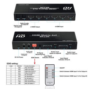 Image 4 - 2020 Best 4K 4x2 HDMI Matrix Switch Splitter Switcher EDID Setting HDMI Switch 4x2 with Dual SPDIF & Optical Toslink HDMI Matrix