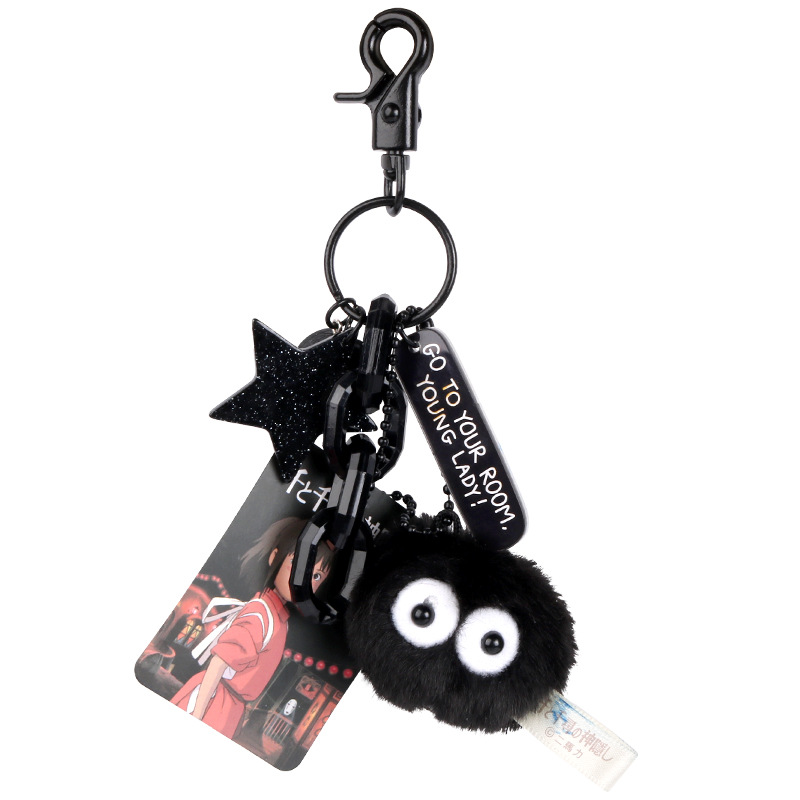Cute My Neighbor Totoro Keychain Spirited Away Fairy Dust Keyrings Fit Bag Charms Purse Accessory For Miyazaki Hayao Comic Fans